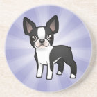 Cartoon Boston Terrier Coaster