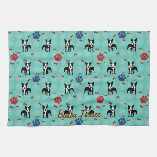 Cartoon Boston Terrier Kitchen Towel