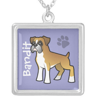 Cartoon Boxer (add your pets name) Silver Plated Necklace