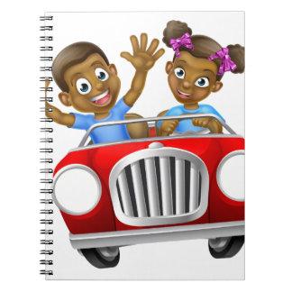 Cartoon Boy and Girl Driving Car Spiral Note Book