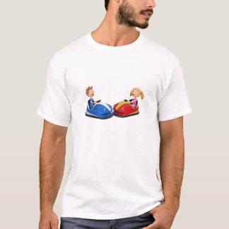 Cartoon boy and girl in Bumper Cars T-Shirt