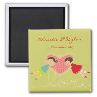 Cartoon Boy and Girl in Love Save-the-Date / Gift Magnet
