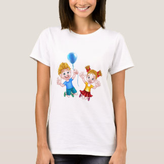 Cartoon Boy and Girl Jumping with Balloon T-Shirt