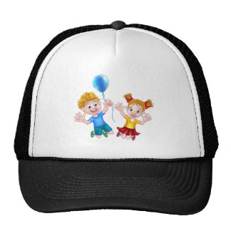 Cartoon Boy and Girl Jumping with Balloon Trucker Hat