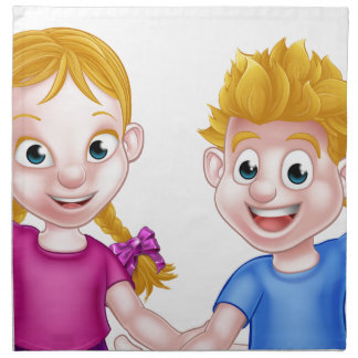 Cartoon Boy and Girl Kids Napkin