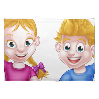 Cartoon Boy and Girl Kids Placemat