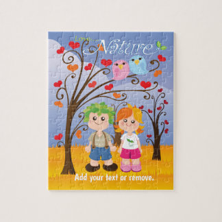 "Cartoon, boy and girl ""Love Nature"" forest scene, Jigsaw Puzzle"