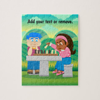Cartoon, boy & black girl playing chess outdoors, jigsaw puzzle
