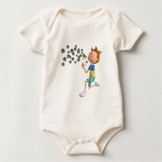 Cartoon boy blowing bubbles baby bodysuit