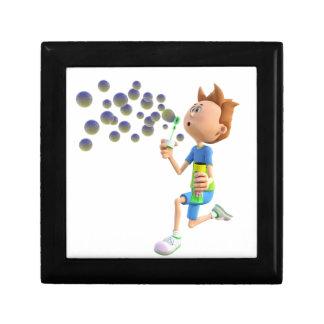 Cartoon boy blowing bubbles gift box