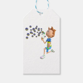 Cartoon boy blowing bubbles gift tags