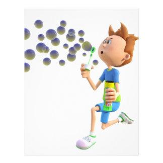 Cartoon boy blowing bubbles letterhead