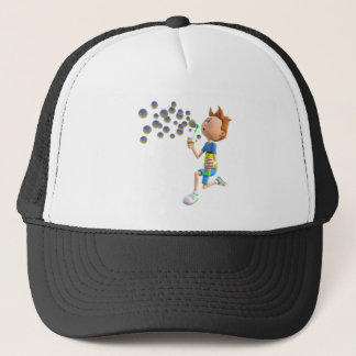 Cartoon boy blowing bubbles trucker hat