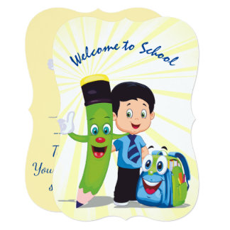 Cartoon Boy Goes to School Card