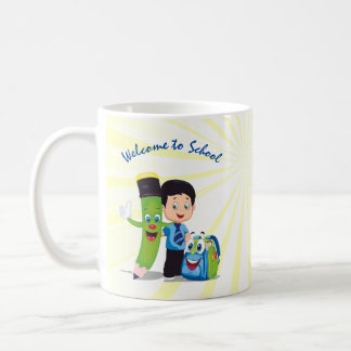 Cartoon Boy Goes to School Coffee Mug