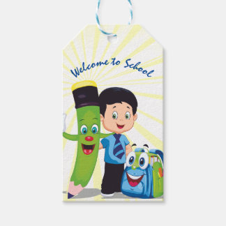 Cartoon Boy Goes to School Gift Tags