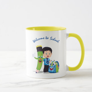 Cartoon Boy Goes to School Mug