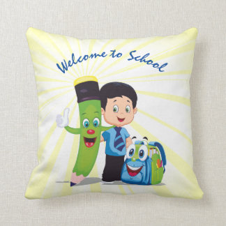Cartoon Boy Goes to School Throw Pillow