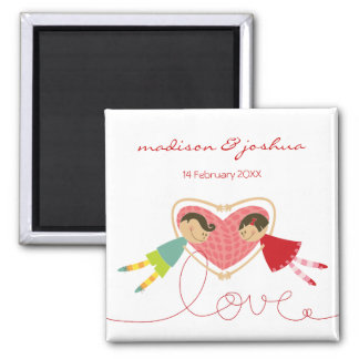 Cartoon Boy Hearts Girl Save The Date Gift Magnet