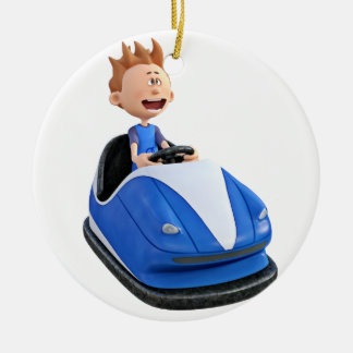 Cartoon boy in a bumper car round ceramic ornament