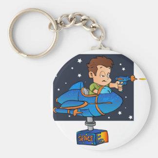 Cartoon Boy in imaginary Rocket Basic Round Button Keychain