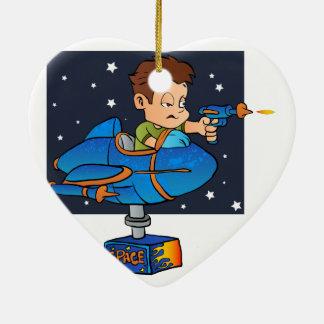 Cartoon Boy in imaginary Rocket Ceramic Heart Ornament