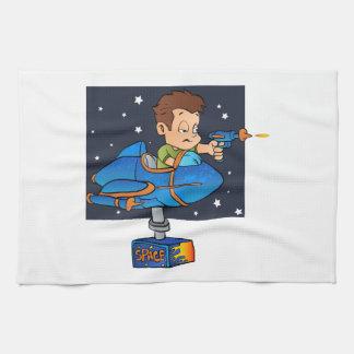 Cartoon Boy in imaginary Rocket Hand Towel