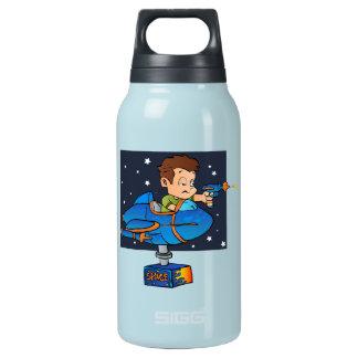 Cartoon Boy in imaginary Rocket Insulated Water Bottle