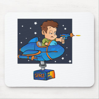 Cartoon Boy in imaginary Rocket Mouse Pad