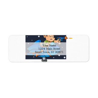 Cartoon Boy in imaginary Rocket Return Address Label