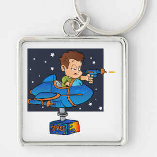 Cartoon Boy in imaginary Rocket Silver-Colored Square Keychain