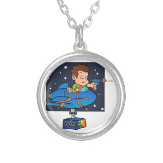 Cartoon Boy in imaginary Rocket Silver Plated Necklace