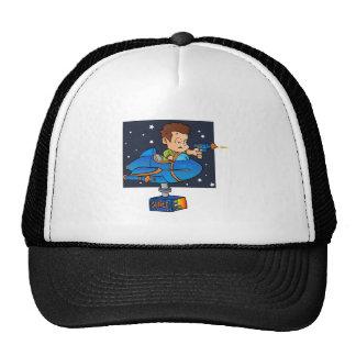 Cartoon Boy in imaginary Rocket Trucker Hat