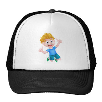 Cartoon Boy Jumping Thumbs Up Trucker Hat