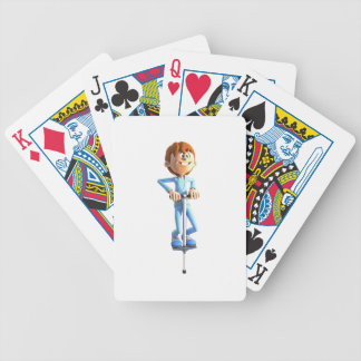 Cartoon Boy on a Pogo Stick Bicycle Playing Cards