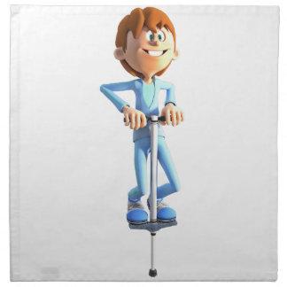 Cartoon Boy on a Pogo Stick Napkin