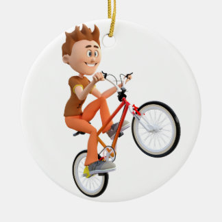 Cartoon Boy on Bike Doing A Wheelie Round Ceramic Ornament