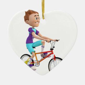 Cartoon Boy Riding A Bike Ceramic Ornament