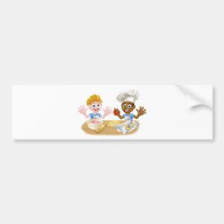 Cartoon Boys Baking Cakes Bumper Sticker
