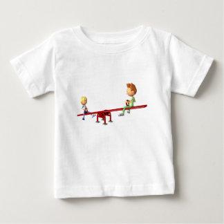 Cartoon Boys having fun on a See Saw Baby T-Shirt