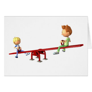 Cartoon Boys having fun on a See Saw Card