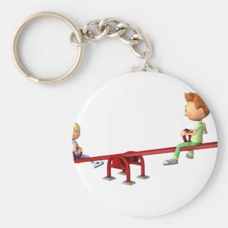 Cartoon Boys having fun on a See Saw Keychain