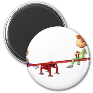 Cartoon Boys having fun on a See Saw Magnet
