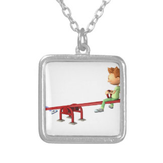 Cartoon Boys having fun on a See Saw Silver Plated Necklace