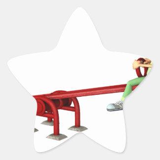 Cartoon Boys having fun on a See Saw Star Sticker