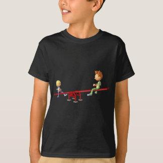 Cartoon Boys having fun on a See Saw T-Shirt