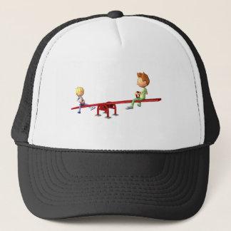 Cartoon Boys having fun on a See Saw Trucker Hat