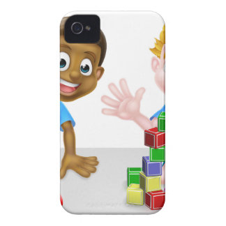 Cartoon Boys Playing iPhone 4 Case-Mate Cases