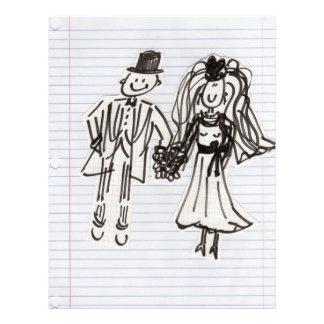 Cartoon Bride and Groom Letterhead