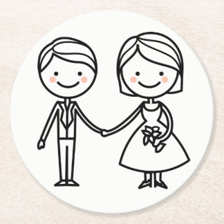 Cartoon Bride & Groom Black And White Wedding Round Paper Coaster